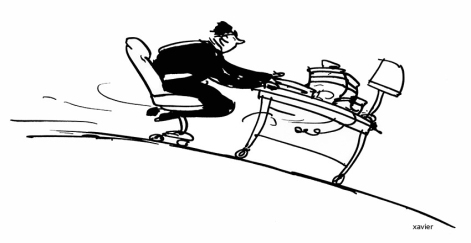 Drawing of humor to illustrate an article of magazine. Mobilité sociale... Social mobility...Rester accrocher à son bureau, Ne pas quitter son poste, Remain to hang on to his office, Not to leave its post,