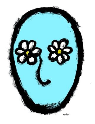 Optismite, character, happiness, happy, flower, positive, cognitive, drawing, portrait tempérament humain espoir espérance humaine fleur dessin xavier