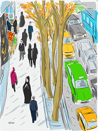 Street of Tehran, City of Tehran, Travel in Iran, Visit Tehran, Travel Iran, Traffic in the city, Nature in the city, Drawing xavier, Rue de Téhéran, Ville de Téhéran, Voyager en Iran, Visiter Téhéran, Circulation dans la ville, La nature dans la ville, Dessin xavier