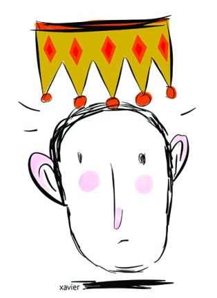 Declined king monarchy crowns punishment fine diet authority humor royal family drawing presses newspaperRoi déchu royauté couronne peine fin régime autorité humour portrait famille royale dessin xavier illustration presse journal