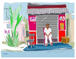 dessin voyager tourisme ile maurice carnet agence voyage homme cabane commerce mauricien