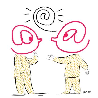 E-mail communication Web language to speak Internet user IT communication secret language illustration xavier Internet communication e-mail langage web parler internaute communication informatique langage secret illustration xavier internaute