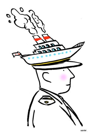 Naval officer captain of boat cap marinates portrait of sailor boat liner in movement to dream about sea about sailor images xavier illustration officier de marine capitaine de bateau casquette marine portrait de marin bateau paquebot en mouvement rêver de mer navigateur image xavier illustration