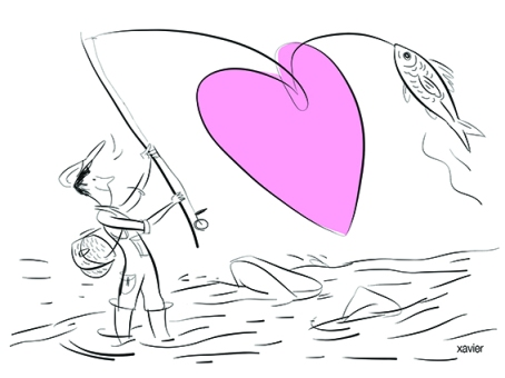 Fishing river fish fishing rod fisherman heart happiness drawing humor thread of fishing fly fishing images xavier Pêche en rivière poisson canne à pêche pêcheur coeur bonheur dessin humour fil de pêche mouche articles
