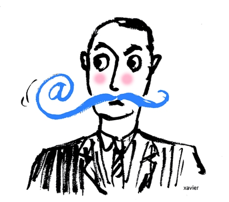 Portrait with a moustache internet communication to throw an e-mail carry a message images xavier modern Internet portrait moustachu communication internet lancer un mail porter un message image xavier portrait internaute moderne