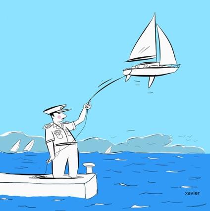 Single-handed sailor quay of port commanded navy marine edition publishing humor Navigateur solitaire quai de port commanda de marine édition humour xavier