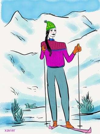 sports cross-country skier winter sport skier ballad mountain ski garment winter walk illustration xavier skieuse de fond sportive sport d'hiver skieuse s ballade en montagne vêtement de ski promenade d'hiver illustration xavier
