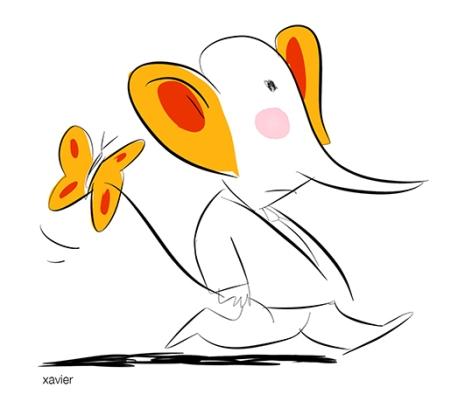 Man happy elephant jeune enfantHombre elefante feliz Homme éléphant heureux papillon dessin humour xavier