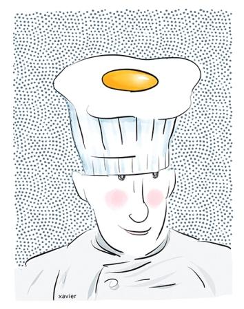 Cook an egg cooking time fried egg recipe portrait chief restaurant se faire cuire un oeuf temps de cuisson oeuf au plat recette portrait chef restaurateur xavier illustration
