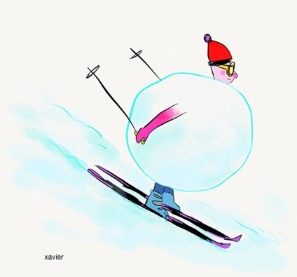 Snowball drawing humor meteo cold mountain snowfall skier shoe failed ski stick rent boule de neige dessin humour xavier froid météo montagne chute de neige skieur chaussure ski forfait baton location image