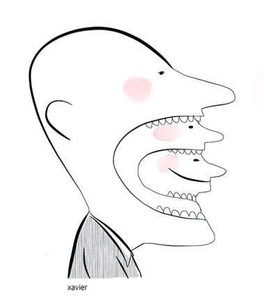 Split personality portrait to laugh to smile comedy of situation to bite to possess illustration drawing dédoublement de la personnalité portrait rire sourire comique de situation mordre posséder illustration dessin xavier