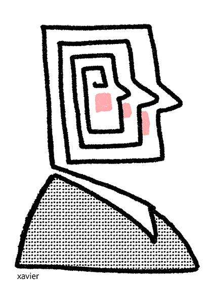 Logical sir has a single idea cerebral brain psychology of the rigor human portrait monsieur logique a une seule idée cérébral cerveau psychologie de la rigueur portrait humain xavier illustration