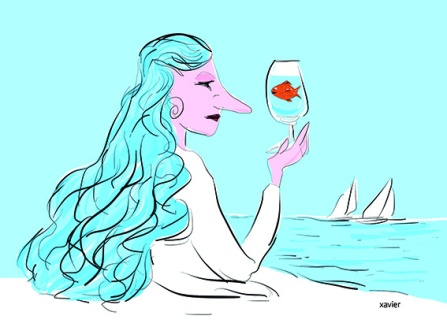 Portrait woman goldfish in glass sea captures imaginary drink feminine surprise goddess of seas woman embellishes with images drawing portrait femme poisson rouge dans verre mer capture boisson imaginaire étonnement féminin déesse des mers xavier illustration femme image dessin