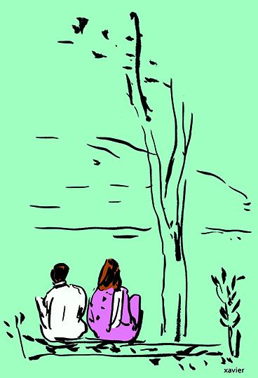 Couple edge river Pakistan Asia travels world secret love bord rivière pakistan asie voyage monde amour secret illustration xavier