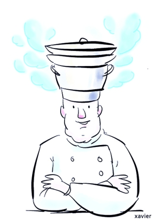 Recipe Takings leader head cooking cooks vapor restoring illustration humor Recette chef cuisson cuisine vapeur restaurant illustration humour xavier