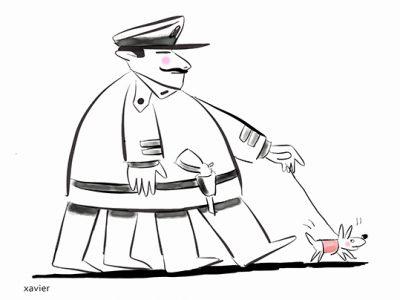 Humor leader lets humor army absurd command commanding Humour chef laisse humour armée Xavier illustration pouvoir absurde chef commander commandant