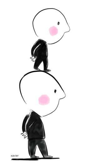 Thinker philosophizes human selfish egocentric person humor mockery drawing Pensador filosofa egocéntrico egoísta humano humor irrisión dibujo Penseur philosophe égocentrique égoïste humain humour dérision dessin xavier