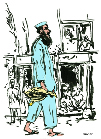Pakistan to peshawar Asia guides journey discovery man kicks hen atmosphere Paquistán peshawar Asia guía viaje descubrimiento hombre cocea gallina ambiente ilustración pakistan peshawar asie guide voyage découverte homme rue poule ambiance illustration xavier