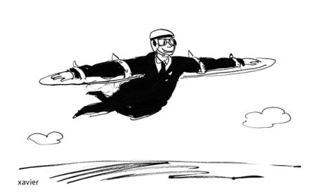 Human relation social management transfer professional flight illustration humor drawing Relación humana gestión social mudanza mutación vuelo profesional ilustración humor dibujo relation humaine management social mutation envol professionnel illustration humour dessin xavier
