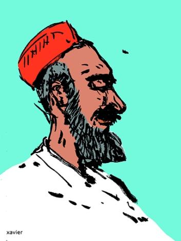 Retrato hombre paquistán Asia ilustración reportaje viaja portrait homme pakistan asie illustration reportage voyage xavier