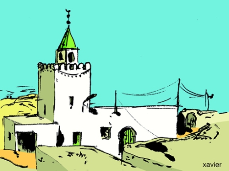 Drawing brush illustration mosque Tunisia to travel xavier Dibujo pincel ilustración mezquita Tunisia viajar xavier dessin pinceau mosquée tunisie voyager