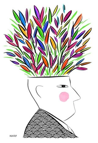Optimista imaginar pensamiento positivo creación cerveau creatividad ilustrar llena imágenes Optimiste imaginer pensée positive création ccerveau créativité illustrer Xavier image