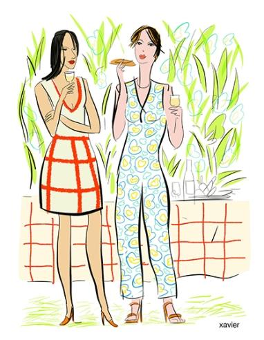 Mondanités jeunes mères femmes discutions mondaine dessin xavier