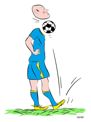 Arbitre match football Penser sport pensée unique passion destructrice sport national dessin xavie