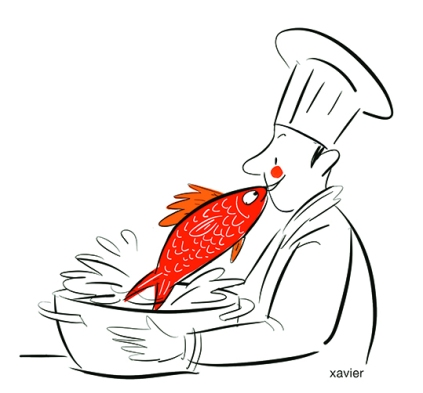 humour poissonnier image illustration recette cuisinier Fishmonger recipe cook head meal restoring chef repas restaurant
