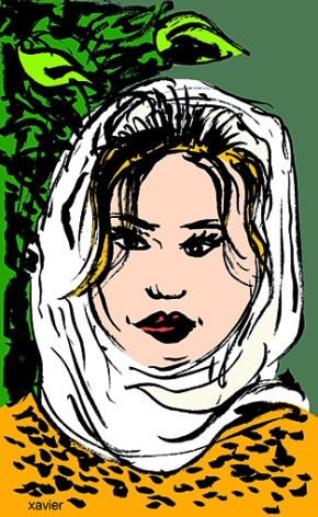 Meet scarf Iranian young woman look feminine beauty travels illustration sketch drawing Iran jeune iranienne de teheran jeunesse iranienne iran dessin xavier regard port foulard tête visage beauté