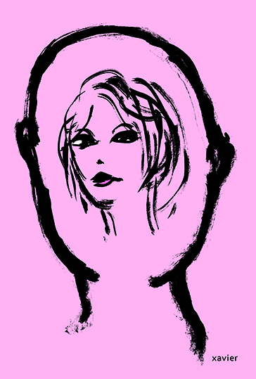 To think of love woman loving portrait thought meets man penser amour femme portrait amoureux pensée illustration xavier rencontre homme