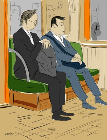 Rest after work in kyoto subway city, Japanese, rest, Japan, journey, drawing,repos après travail dans métro kyoto ville, japonais, repos, japon, voyage, dessin, xavier,