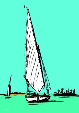 croisière felouque nil egypte vol découverte navigation xavier illustration