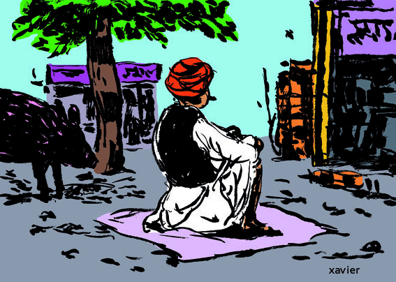 Hombre, ilustración,India, xavier, el país, viaja,illustration,inde
