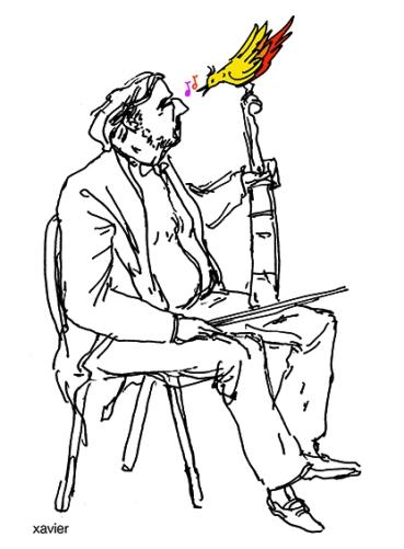 le musicien et l'oiseau, violoniste and music bird, classical music, illustration xavier