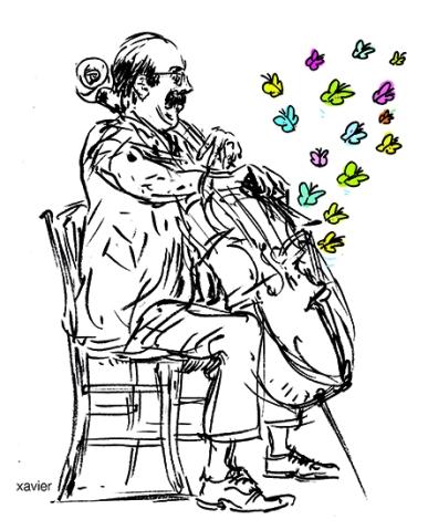 Butterfly Music melody Wish contrabass player, Xavier illustration, la mélodie des papillons jouée par le contrebassiste de l'orchestre des animaux.