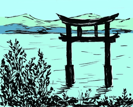 Landscape of Japan, journey in Japan, discovered drawing Japanese landscape, paysage du Japon, voyage au japon, découverte dessin paysage japonais, xavier,