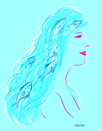 dessin portrait de poisson dans chevelure femme illustration woman xavier drawing