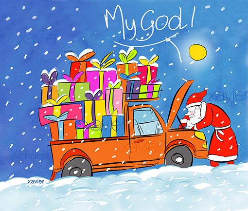 dessin humour père noel dans la neige cadeaux humour my god religion catholique