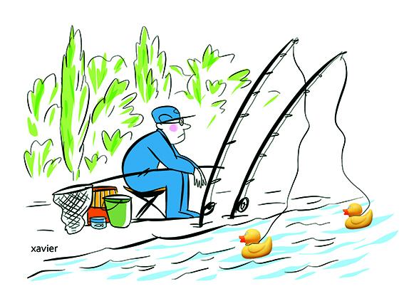 Fisherman of Sunday, the wait of the fish,Fischer des Sonntages, die Erwartung von Fisch,pêcheur du dimanche, l'attente du poisson,drôles de canards, rivière,dessin,xavier