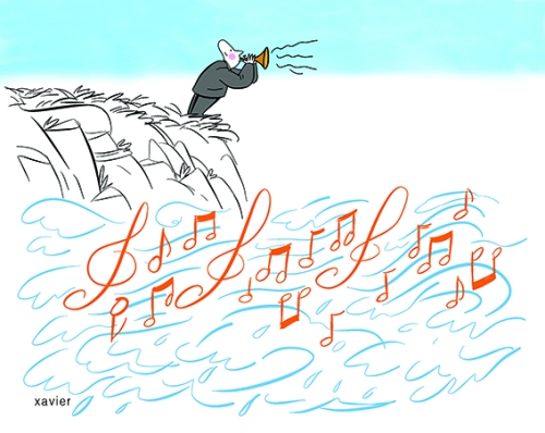 Musique vivante,sons et mélodie maritimemusicien, dessin xavier pangaud