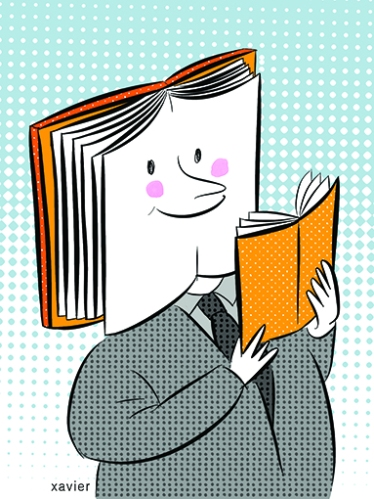 doble lectura libro crítica literaria leyendo una prueba, llevaba de un lector, la lectura fuente de cultura, en el salón del libro cada visitante se apropia de un libro, compra uno o más libros a un precio preferencial,ilustración xavier del sitio web xavier images,