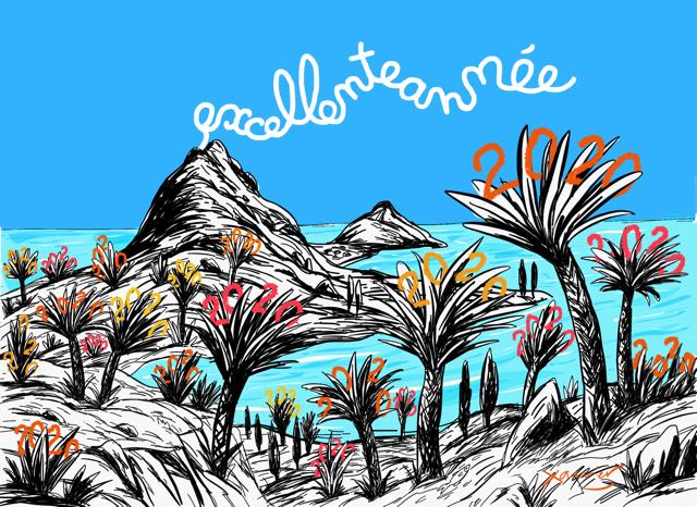 paysage exotique, image vie rêve, nouvelle année,voeux,year,xavier,dessin